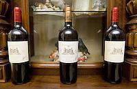 "Switzerland. Canton Ticino. Besazio. ""Castello Luigi"". Bottles of Merlot red wine and Chardonnay white wine by Luigi Zanini, wine grower and producer.  © 2008 Didier Ruef"