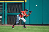 Indianapolis Indians outfielder Mel Rojas Jr. (3) catches a fly ball during a game against the Rochester Red Wings on June 10, 2015 at Frontier Field in Rochester, New York.  Indianapolis defeated Rochester 5-3.  (Mike Janes/Four Seam Images)