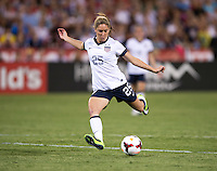 Morgan Brian (25) of the USWNT scores her first career goal during an international friendly at RFK Stadium in Washington, DC.  The USWNT defeated Mexico, 7-0.