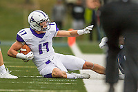 8 October 2016: Amherst College Purple & White Wide Receiver Nick Widen, a Senior from Weston, MA, in action against the Middlebury College Panthers at Alumni Stadium in Middlebury, Vermont. The Panthers edged out the Purple & While 27-26. Mandatory Credit: Ed Wolfstein Photo *** RAW (NEF) Image File Available ***