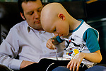 NHS children ward 1980s Cancer patient with his father. Alder Hey Hospital  Manchester. 1988