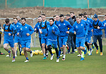 St Johnstone Training…14.04.17<br />Richie Foster and Danny Swanson lead a run during training at McDiarmid Park this morning ahead of tomorrow's game against Aberdeen.<br />Picture by Graeme Hart.<br />Copyright Perthshire Picture Agency<br />Tel: 01738 623350  Mobile: 07990 594431