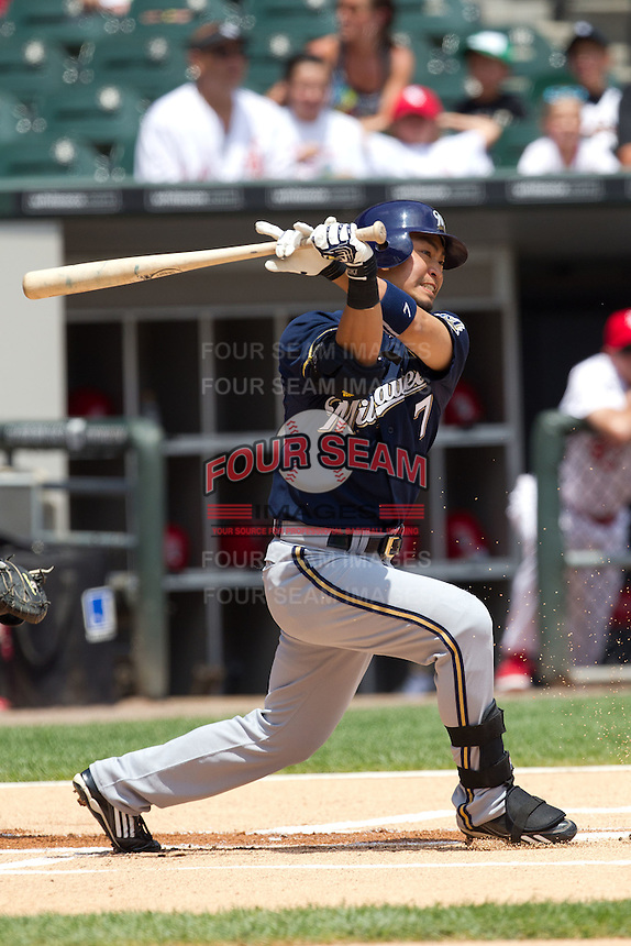 Milwaukee Brewers outfielder Norichika Aoki  #7 swings during the Major League Baseball game against the Chicago White Sox on June 24, 2012 at US Cellular Field in Chicago, Illinois. The White Sox defeated the Brewers 1-0 in 10 innings. (Andrew Woolley/Four Seam Images).