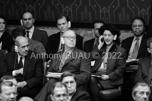 New York, New York.USA.March 7, 2003..The United Nations Security Council meets on the crisis in Iraq. Chief weapons inspector Dr. Hans Blix waits to be called to read his report.