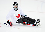 Sochi, RUSSIA - Mar 1 2014 -  Kevin Rempel from Team Canada hits the ice for his first practice before the 2014 Paralympics in Sochi, Russia.  (Photo: Matthew Murnaghan/Canadian Paralympic Committee)