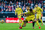 Carlos Arturo Bacca Ahumada of Villarreal CF (front)  fights for the ball with Martin Montoya Torralbo of Valencia CF  (back) during the La Liga 2017-18 match between Valencia CF and Villarreal CF at Estadio de Mestalla on 23 December 2017 in Valencia, Spain. Photo by Maria Jose Segovia Carmona / Power Sport Images