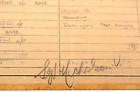 BNPS.co.uk (01202 558833)<br /> Pic: AnthonyCribb/BNPS<br /> <br /> Pictured: Sergeant Nicholson's signature.<br /> <br /> Rare navigation sheets which provide a gripping blow-by-blow account of the famous Dambusters raid of World War Two have come to light 78 years on.<br /> <br /> They were filled in by Sergeant Vivian Nicholson who was a navigator on one of the 19 Lancaster bombers involved in Operation Chastise on the night of May 16, 1943.<br /> <br /> As well as jotting down technical information such as wind speeds and directions, Sgt Nicholson used short phrases to offer a 'real-time' commentary of the perilous mission.