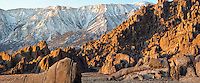 Alabama Hills rock formations, panorama, California with Sierra Nevada mountains