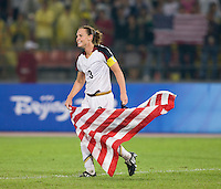 USWNT captain (3) Christie Rampone celebrates after playing for the gold medal at Workers' Stadium.  The USWNT defeated Brazil, 1-0, during the 2008 Beijing Olympics women's soccer final in Beijing, China.