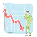 Businessman standing in front of a downward line graph