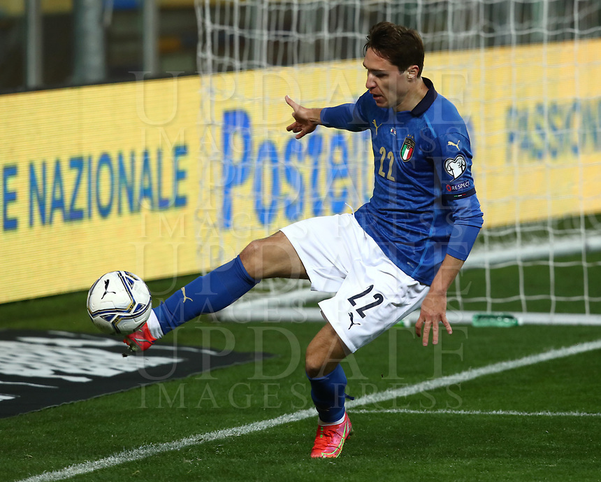 Footbal Soccer: FIFA World Cup Qatar 2022 Qualification, Italy - Northern Ireland, Ennio Tardini stadium, Parma, March 26, 2021.<br /> Italy's Federico Chiesa in action during the FIFA World Cup Qatar 2022 qualification, football match between Italy and Northern Ireland, at Ennio Tardini stadium in Parma on March 26, 2021.<br /> UPDATE IMAGES PRESS/Isabella Bonotto