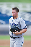 AZL Padres 2 first baseman Justin Paulsen (26) walks off the field between innings of the game against the AZL Brewers on September 2, 2017 at Maryvale Baseball Park in Phoenix, Arizona. AZL Brewers defeated the AZL Padres 2 2-0. (Zachary Lucy/Four Seam Images)