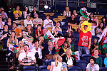Welsh fans ahead of the mixed doubles match between Wales' Oliver Gwilt and Sarah Thomas and New Zealand's Susannah Leydon-Davis and Oliver Leydon-David<br /> <br /> Photographer Chris Vaughan/Sportingwales<br /> <br /> 20th Commonwealth Games - Day 6 - Tuesday 29th July 2014 - Badminton - Emirates Arena including the Sir Chris Hoy Velodrome - Glasgow - UK