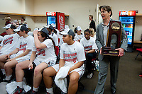 FRESNO, CA--Head Coach Tara VanDerveer carries the championship trophy into the locker room after a 81-69 win over Duke at the Save Mart Center for the West Regionals Championship of the 2012 NCAA Championships. The Cardinal advances to the Final Four in Denver, facing Baylor in the semifinals.