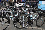Omega Pharma-Quick Step team's Specialized bikes lined up at the team bus before the start of the 98th edition of Liege-Bastogne-Liege outside the Palais des Princes-Eveques, running 257.5km from Liege to Ans, Belgium. 22nd April 2012.  <br /> (Photo by Eoin Clarke/NEWSFILE).