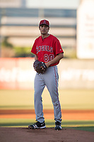 AZL Angels starting pitcher Adrian De Horta (80) prepares to deliver a pitch during an Arizona League game against the AZL Diamondbacks at Tempe Diablo Stadium on June 27, 2018 in Tempe, Arizona. The AZL Angels defeated the AZL Diamondbacks 5-3. (Zachary Lucy/Four Seam Images)