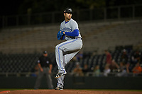 Peoria Javelinas starting pitcher TJ Zeuch (25), of the Toronto Blue Jays organization, delivers a pitch to the plate during an Arizona Fall League game against the Scottsdale Scorpions on October 20, 2017 at Scottsdale Stadium in Scottsdale, Arizona. the Javelinas defeated the Scorpions 2-0. (Zachary Lucy/Four Seam Images)