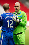 St Johnstone v Real Valladolid....07.08.10  Pre-Season Friendly.Trialist keeper Peter Enckelman gets a well done from Steven Anderson at full time.Picture by Graeme Hart..Copyright Perthshire Picture Agency.Tel: 01738 623350  Mobile: 07990 594431