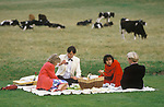 Glyndebourne Festival Opera  al fresco picnic gardens garden during interval East Sussex UK 1980s. The ha-ha lawn