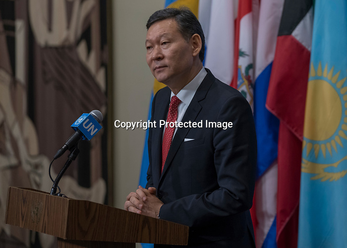 Security Council Considers Developments in West Africa and Sahel<br /> Kairat Umarov, Permanent Representative of Kazakhstan to the UN and President of the Security Council for the month of January, addresses journalists after Security Council consultations and UNAMID and other matters.