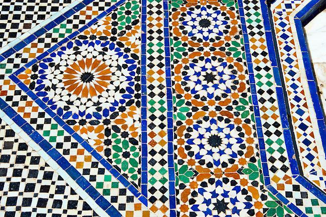 Berber Arabesque  Zellige tiles of the Marrakesh museum in the Dar Menebhi Palace, Marrakesh, Morocco