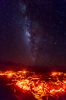 Lava Stars: 61g lava flow field glows under the rising Milky Way, Big Island. Pele, goddess of fire, and Namaka, goddess of the sea, are about to be reunited for the first time in nearly three years. This picture was taken at 10:39 p.m. on July 25, 2016; lava met the Pacific Ocean at 1:15 a.m. on July 26, 2016.