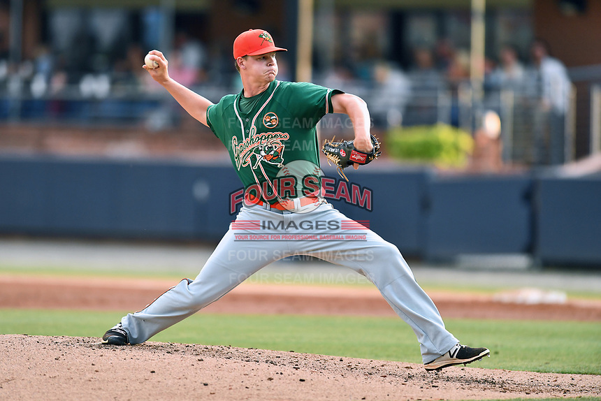 Greensboro Grasshoppers starting pitcher Brandon Miller (41) delivers a pitch during a game against the Asheville Tourists at McCormick Field on May 11, 2018 in Asheville, North Carolina. The Tourists defeated the Grasshoppers 10-5. (Tony Farlow/Four Seam Images)
