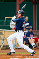 Max Kepler #23 of the Elizabethton Twins follows through on his swing against the Bluefield Blue Jays at Joe O'Brien Field on July 14, 2012 in Elizabethton, Tennessee.  The Twins defeated the Blue Jays 4-0.  (Brian Westerholt/Four Seam Images)
