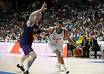 Real Madrid´s Felipe Reyes and Barcelona´s Lampe during Liga Endesa Final first match at Palacio de los Deportes in Madrid, Spain. June 19, 2015. (ALTERPHOTOS/Victor Blanco)