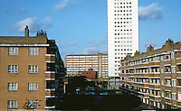 """London Docklands:  Shadwell--Council Housing. I'd say 1940's and 1970""""s.  Photo  '90."""