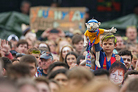 Pictured: A young boy in the ground holds up an Ed Sheeran puppet. Saturday 26 May 2018<br /> Re: BBC Radio 1 Biggest Weekend at Singleton Park in Swansea, Wales, UK.