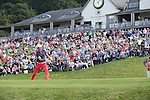 Frenchman Gregory Bourdy punches the air to celebrate as his birdie putt on the 18th goes in to win the ISPS Handa Wales Open 2013 at the Celtic Manor Resort.<br /> <br /> 01.09.13<br /> <br /> ©Steve Pope-Sportingwales