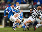 St Johnstone v St Mirren.....23.02.13      SPL.Steven MacLean shot is blocked by Jim Goodwin.Picture by Graeme Hart..Copyright Perthshire Picture Agency.Tel: 01738 623350  Mobile: 07990 594431
