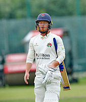 23rd September 2021; Aigburth, Liverpool, Merseyside, England; LV=Country Cricket Championship; Lancashire versus Hampshire; Lancashire keeper Alex Davies walks away having been dismissed by Keith Barker of Hampshire for 44