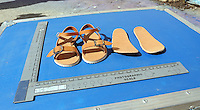 Pictured: A copy of a pair of sandals similar to those worn by Ben Needham in Kos, Greece. Saturday 01 October 2016<br /> Re: Police teams led by South Yorkshire Police, searching for missing toddler Ben Needham on the Greek island of Kos have moved to a new area in the field they are searching.<br /> Ben, from Sheffield, was 21 months old when he disappeared on 24 July 1991 during a family holiday.<br /> Digging has begun at a new site after a fresh line of inquiry suggested he could have been crushed by a digger.