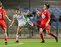 Zenia Mertens (6) of OHL and Noa Corbeels (16) of Woluwe in action during a female soccer game between FC Femina White Star Woluwe and Oud Heverlee Leuven on the fourth matchday in the 2021 - 2022 season of Belgian Scooore Womens Super League , Friday 10 th of September 2021  in Woluwe , Belgium . PHOTO SPORTPIX   SEVIL OKTEM