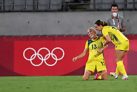 21st July 2021. Tokyo, Japan; Tameka Yallop of Australia celebrates after scoring a goal during for womens football match G match between Australia and New Zealand at Tokyo 2020 in Tokyo, Japan