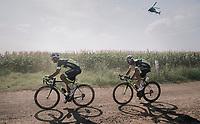 Kevyn Ista (BEL/WB Veranclassic Aqua Protect) & Olivier Pardini (BEL/WB Veranclassic Aqua Protect) in duo over a gravel section<br /> <br /> 92nd Schaal Sels 2017 <br /> 1 Day Race: Merksem > Merksem (188km)