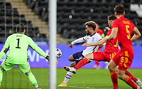 SWANSEA, WALES - NOVEMBER 12: Konrad De la Fuente #11 of the United States takes a shot during a game between Wales and USMNT at Liberty Stadium on November 12, 2020 in Swansea, Wales.