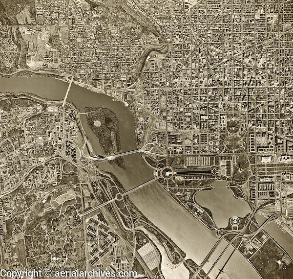 historical aerial photograph of Washington, DC, 1964
