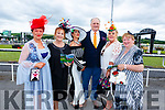Ladies Day at the Listowel Races on Sunday. <br /> L-r Betty McGrath Moriarty (Listowel), Betty Stack (Listowel/Ardfert), Grace Glenn (Limerick), Denis Stack (Listowel), Tracy Dowling (Listowel) and Mary McEnery (Listowel).