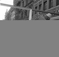 Amenagement pietonniers sur la rue St-Joseph,a Quebec, entre le 1er et le 5 mai 1967<br /> <br /> PHOTO :  Agence Quebec Presse