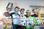 Jan Bakelants (BEL) AG2R La Mondiale wins the 2015 GranPiemonte race with Matteo Trentin (ITA) Etixx-Quick Step in 2nd place and Sonny Colbrelli (ITA) Bardiani CSF 3rd, celebrating on the podium in Cirie, Italy. 2nd October 2015.<br /> Picture: Angelo Carconi/ANSA | Newsfile