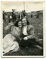 A photographs from Tommy's family album: 'Mum and friend on July 12th around 1952.'.