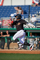 Batavia Muckdogs Albert Guaimaro (13) bats during a NY-Penn League game against the West Virginia Black Bears on June 26, 2019 at Dwyer Stadium in Batavia, New York.  Batavia defeated West Virginia 4-2.  (Mike Janes/Four Seam Images)