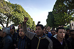 """© Remi OCHLIK/IP3 - Tunis the 17 january 2011 Tunisia took a step toward democracy and reconciliation Monday, promising to free political prisoners and opening its government to opposition forces long shut out of power -- but the old guard held onto the key posts, angering protesters..Demonstrators carrying signs reading """"GET OUT! demanded that the former ruling party be banished altogether -- a sign more troubles lie ahead for the new unity government as security forces struggle to contain violent reprisals, shootings and looting three days after the country's longtime president fled under pressure from the streets."""