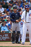 Milwaukee Brewers catcher Jonathan Lucroy (20) during a game against the Chicago Cubs on August 13, 2015 at Wrigley Field in Chicago, Illinois.  Chicago defeated Milwaukee 9-2.  (Mike Janes/Four Seam Images)