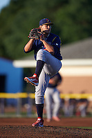 State College Spikes pitcher Juan Perez (47) delivers a pitch during a game against the Batavia Muckdogs August 22, 2015 at Dwyer Stadium in Batavia, New York.  State College defeated Batavia 5-3.  (Mike Janes/Four Seam Images)