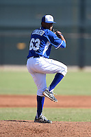 Kansas City Royals pitcher Estarlin Cordero (63) during an Instructional League game against the Cincinnati Reds on October 16, 2014 at Goodyear Training Facility in Goodyear, Arizona.  (Mike Janes/Four Seam Images)