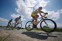 breakaway group: Sebastien Delfosse (BEL/Wallonie-Bruxelles), Serge Dewortelaer (BEL/Veranclassic-Doltcini) & Evan Huffman (USA/Astana)<br /> <br /> 2014 Belgium Tour<br /> stage 4: Lacs de l'Eau d'Heure - Lacs de l'Eau d'Heure (178km)